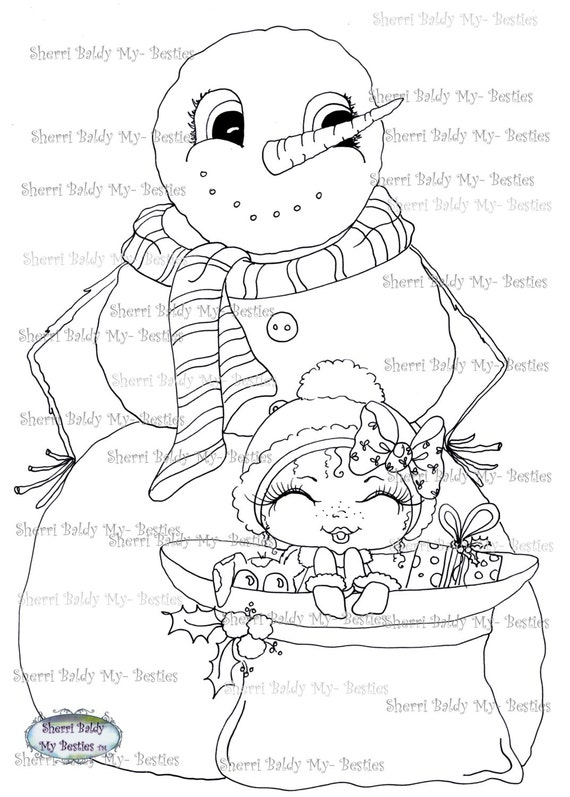 INSTANT DOWNLOAD Digital Digi Stamps Big Eye Big Head Dolls Digi  My Besties Snow Man IMG382 By Sherri Baldy