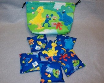 "Ready to Ship - Set of 6 - 3 1/2"" Sesame Street Bean Bags with Small Draw String Storage Bag"