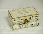 Rustic wedding ring box, Chopin vintage sheet music, ring pillow alternative