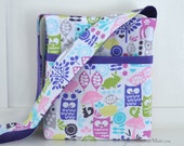 THE LIBRARY BAG - Children's Book Tote Bag with Library Card PocketPurple Owls - Retro Forest, ships now