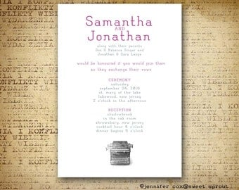 Vintage Typewriter UNIQUE WEDDING INVITATION, Clean, Crisp White, Typewriter Keys and Font, Vintage Theme