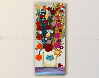 """Vintage Tea Can with Flowers 16"""" x 40"""" CROCHET + PAINTING on CANVAS, with Tall Stems, Leaves and Crochet Flowers"""