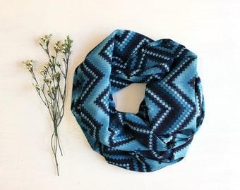 Infinity scarf,tribal chevron, zig zag print, viscosa.