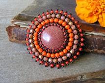 Bead embroidery Brooch Beadwork Brooch Orange Brown Brooch Gold Stone Brooch Bead embroidered jewelry Cabochon Brooch Boho MADE TO ORDER