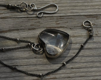 Sterling silver necklace, hand forged, glass heart cabochon, oxidized, unique, delicate