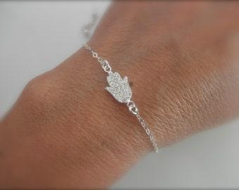 CZ sterling silver hamsa hand bracelet