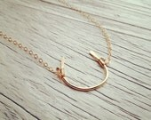 14K Gold Filled Handmade Horseshoe Necklace - Good Luck Necklace - Hammered - Available in Rose Gold Filled
