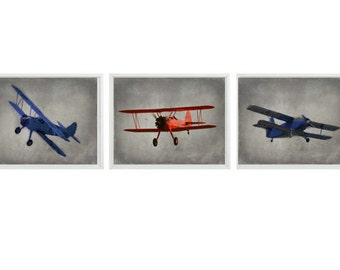 Vintage Airplane Art Print Set - Nursery Baby Boy Room Red Navy Blue Gray Biplane Flying Aviation Toddler Big Boy Room Home Decor Photograph