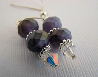 Earrings, Dangle, Czech Glass,Deep Purple, For Her, Crystals