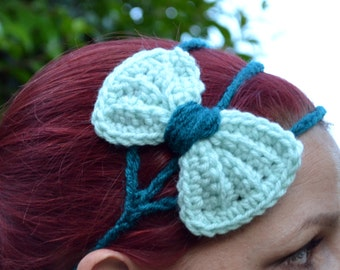 Princess bow headband in aqua and pale green, bow tie crochet headband, Three strand crochet hairband