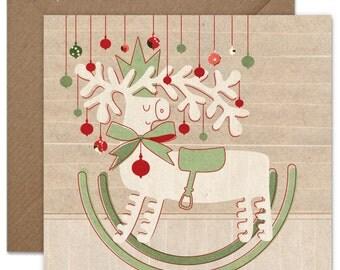 Rocking Christmas Reindeer Greeting card or greeting card set