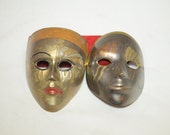 Pair of Vintage Venetian Style Theater Masks in Solid Brass with Enamel Overlay - Two Masks