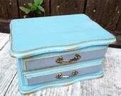 S H A B B Y  C H I C Jewelry BOX - Little Blue and Gray Shabby Chic Jewellery Box - Jewelry Organizer