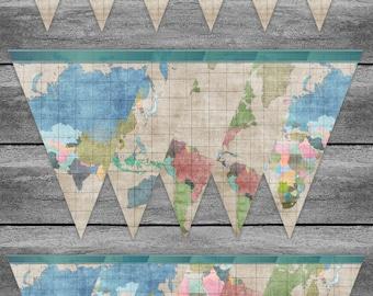 Airplane Banner Birthday Newborn New Baby MAP Pale Vintage - customizable