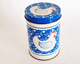 Rooster Canister (3 cups) Blue White Floral