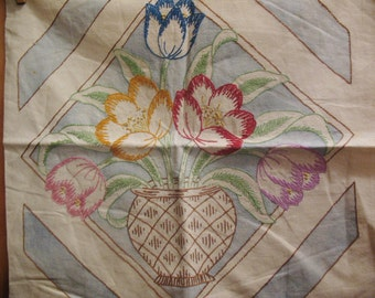 Embroidered Painted Pillow Cover Vintage Hand Made Flowers  Sofa Chair Linen