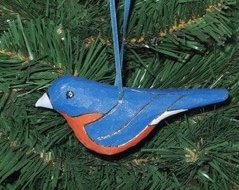 Handcarved Blue Bird Ornament - Woodcarved Bird Ornament - Holiday Ornament - Christmas Ornament - Christmas Bird Ornament - Bluebird