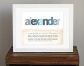 Baby Name Meaning Custom Art Print - unique baby shower gift, baby boy wall art, child's name, blue and gray - mom to be gift - 8 x 10