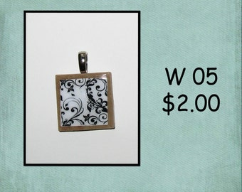 BLACK and WHITE - Wood Tile Pendant - W 05,12,18,26,27