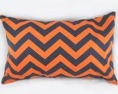 ZigZag Chevron Orange Navy - Decorative Pillow Cushion Cover - Accent Pillow - Throw Pillow