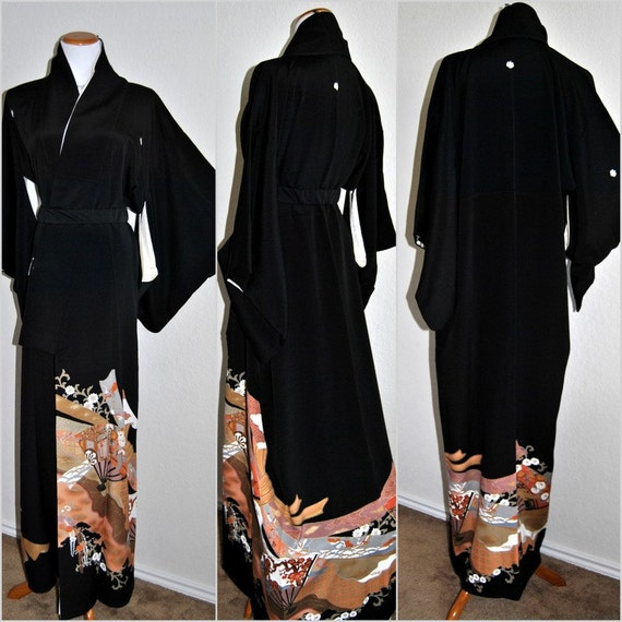 Vintage Japanese Silk Kimono Robe Floral Black Art By