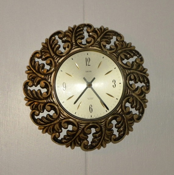 Smiths Starburst Small Wall Clock Vintage Battery