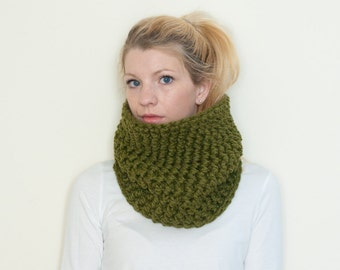 The Chunky Cowl Neckwarmer  Scarf - olive green - Wool Blend