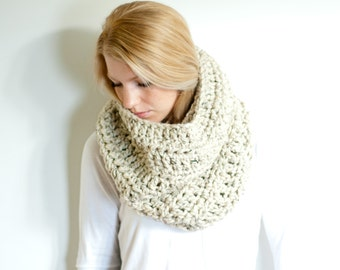 the CHEROKEE cowl - chunky cowl scarf hood circle scarf - oatmeal - slightly ribbed
