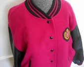 90s VARSITY JACKET, leather and wool jacket, letter jacket, varsity coat, pink and black jacket, boyfriend jacket, liz sport