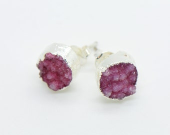 Round Pink Druzy Crystal Earring Posts Sterling Silver Plated Studs 10mm Round Earrings (AP019)