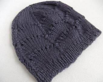 Alpaca Hand Knit Scalloped Lace Women's Beanie Hat in Grape
