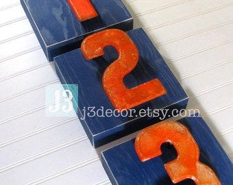 Kids Room Decor, Vintage Orange Sign Numbers 1 2 3, Navy Blue Wood Wall Hanging Boxes, Rustic Shelf Art, Set of 3, Game Room Art