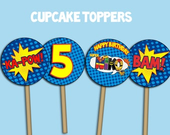 Custom Superhero Cupcake toppers and centerpieces- Digital File