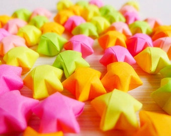 100 Fluorescent Color Origami Lucky Stars