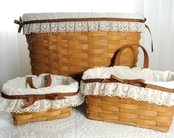 Longaberger basket set of three from 1985 - medium and small wall basket and large basket with handle