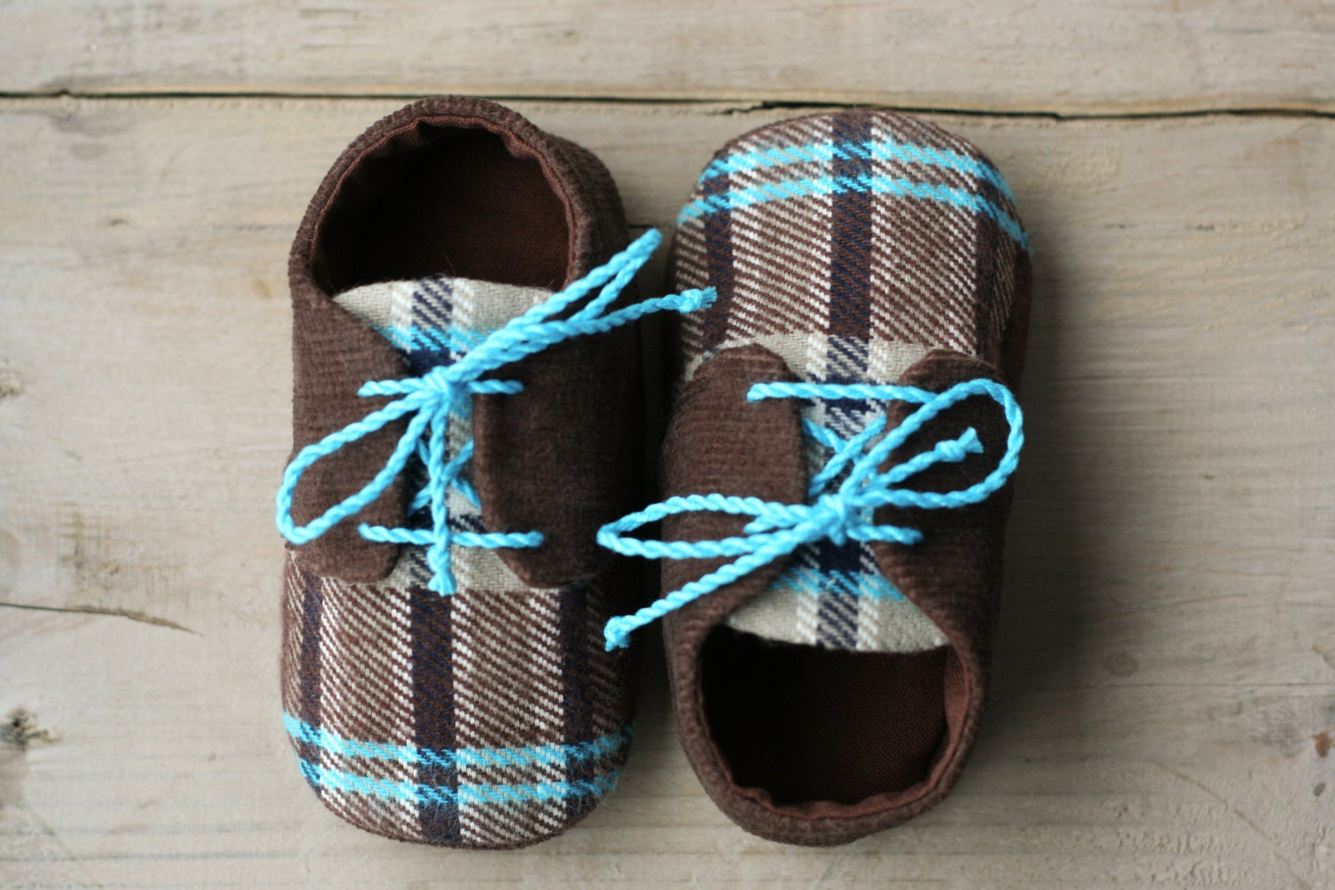 Lumberjack baby shoes Brown and blue plaid baby boy shoes
