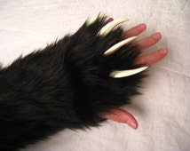 Furry Fingerless Gloves With Claws