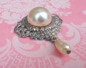 Vintage Pearl Brooch Victorian Silver Filigree Drop Pearl Pin Ornate Miriam Haskell Gift for Her