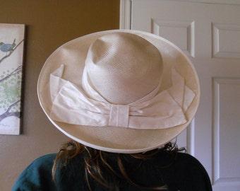 Vintage Straw Hat  Wide Brimmed Laura Ashley Spring  Large Bow Summer Sun Garden Hat