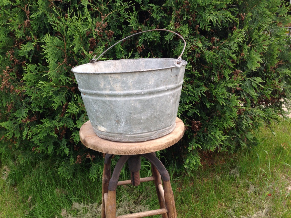 Antique galvanized tin bucket old metal by for Old metal buckets