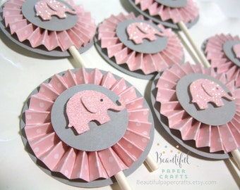 Pink and Gray Elephant Cupcake Toppers- Elephant Baby Shower Decorations Pink Chevron and gray 1st Birthday..Set of 12