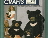 Vintage 1983 McCalls 713 Brooke's Moon Bears  Pillowy Delights 35-21-15 inches tall  UNCUT