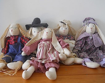 Free Shipping Lot of Five Antique Handmade Rabbits, Vintage Dolls, Handmade Americana Doll, Nursery Room Decor, Gift For NEW MOM