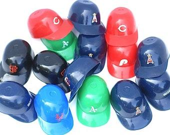 Mid Century Plastic Baseball Helmets New York Yankees, 1960's Sports Memorabilia, Little Boys Birthday Party Ice Cream Helmets, Baseball