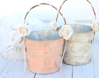 Set of 2 Flower girl basket - boho chic / rustic wedding