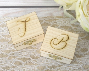 Personalized set of ring bearer boxes with initials