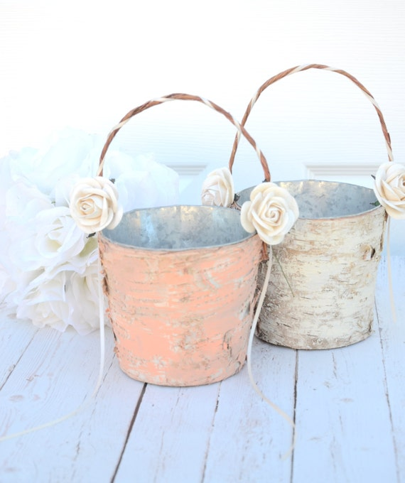 Set Of 2 Flower Girl Basket Boho Chic Rustic Wedding
