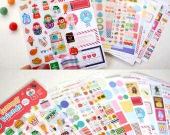 A Korean Set of 12 Sheets Kawaii Yummy Friends Deco Stickers