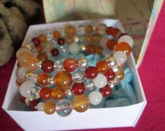 Carnelian Gemstone Beads Wrap bracelet, cuff, bangle in handmade gift box.