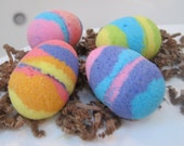 Easter Egg Shaped Bath Bombs with Foam Sponges Inside